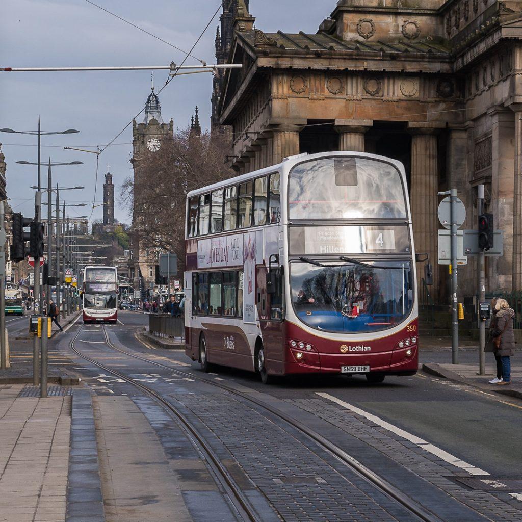 Lothian buses on Princes Street, Edinburgh