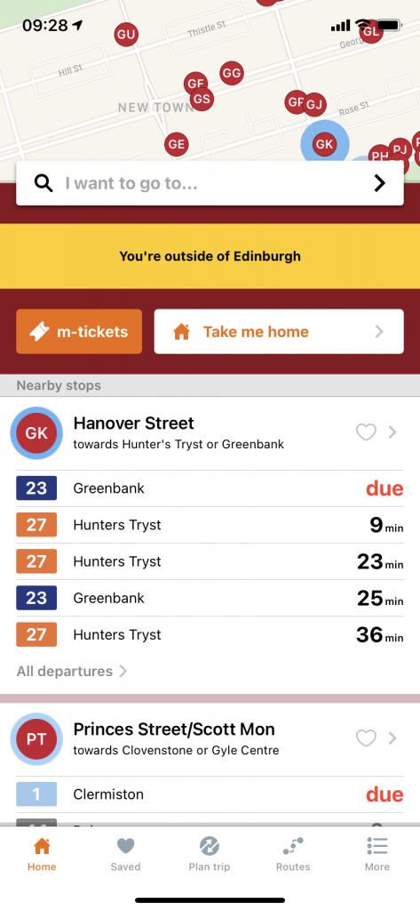 Transport for Edinburgh app screenshot