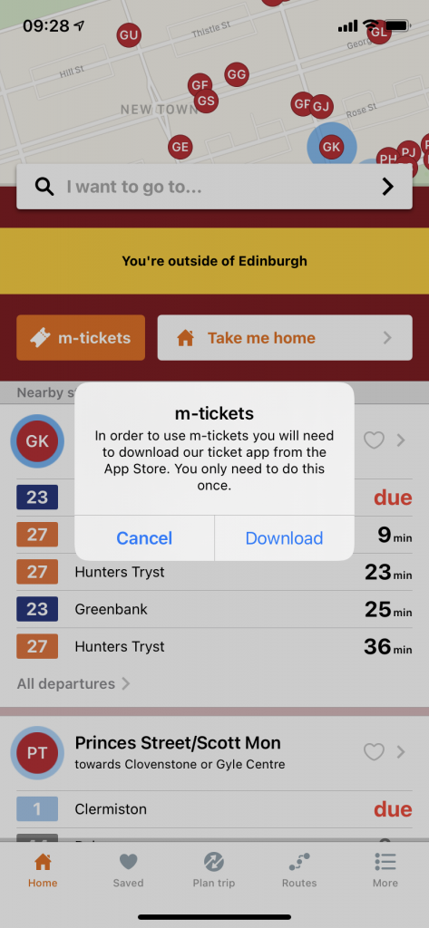 Screenshot of Transport for Edinburgh m-tickets