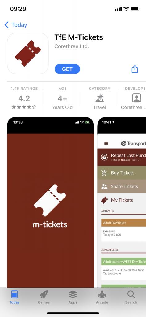 Transport for Edinburgh M-Tickets app download page