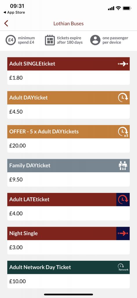 Ticket options on TfE M-Tickets app