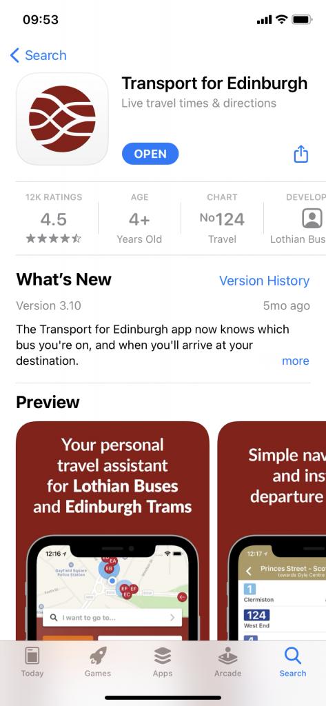 Screenshot of Transport for Edinburgh app