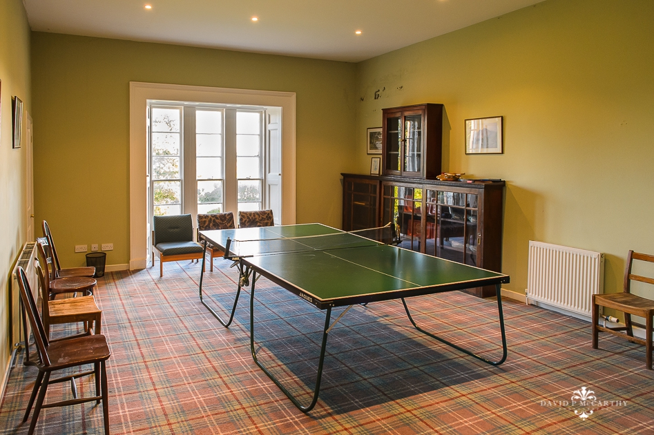 Table tennis room in large country house in Scotland