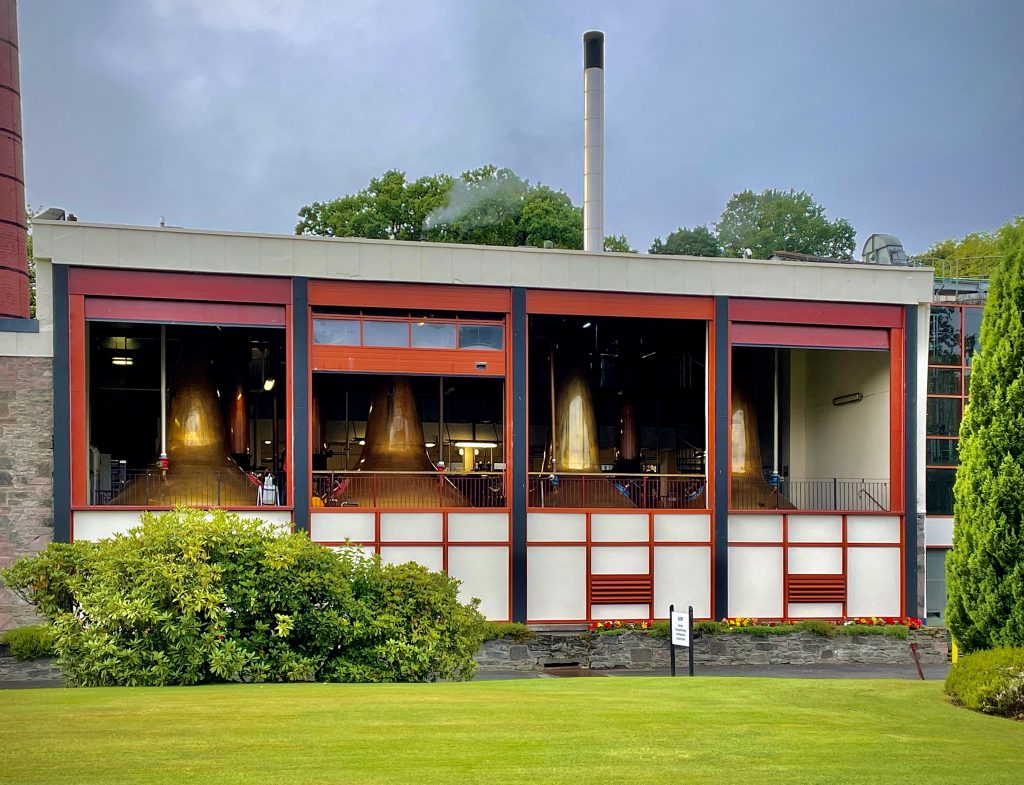 A view of the copper stills at Aberfeldy Distillery